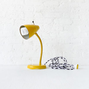 Vintage Industrial Yellow Gooseneck Desk Lamp with Black & White Color Cord