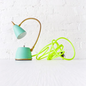 Vintage Mint Green Blue Gooseneck Lamp with Neon Green Yellow Color Cord