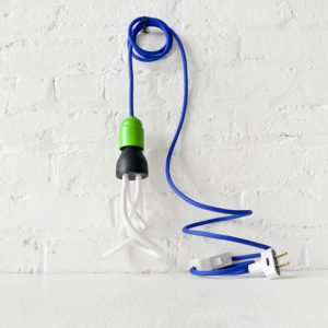 Cool Blue Green Plumen Pendant Light with Cloth Cord and Color Socket