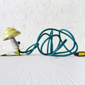 Industrial Night Light – Mini Machine Age Mint Clip Night Lamp with Emerald Green Color Cord