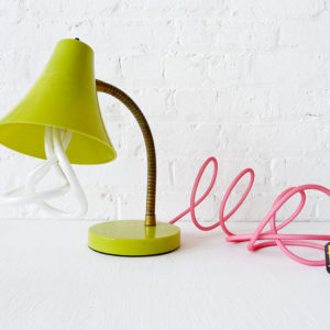 Retro Lime Yellow Gooseneck Desk Lamp with Neon Pink Net Color Cord