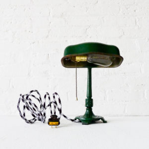 Vintage Cast Iron Green Industrial Desk Lamp with Black & White Zig Zag Color Cord