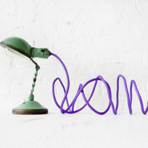 Vintage Green Industrial Lamp – Mini Machine Age Clip Light with Purple Color Cord