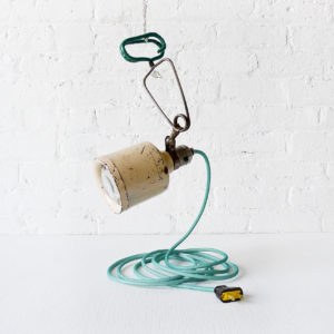 Vintage Industrial Magnifying Hanging Clip Light with Aqua Net Color Cord