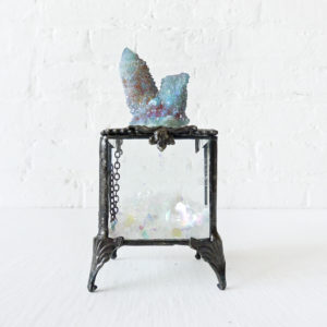 Beveled Glass Jewelry Box with Spirit Cactus Quartz on Top