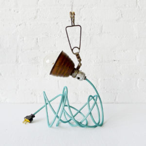 Vintage Industrial Brownie Bell Clip Hanging Lamp with Aqua Net Color Cord