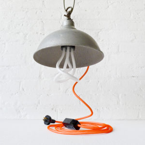 Vintage Industrial Bell Factory Clip Clamp Light with Neon Orange Net Color Cord