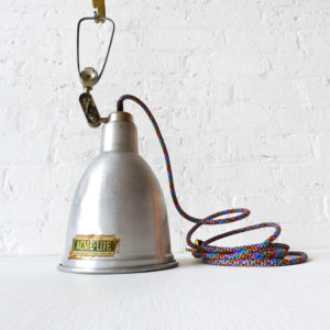 Vintage Industrial Bell Factory Clip Clamp Light with Rainbow Color Cord