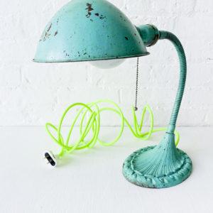 Vintage Industrial Aqua Gooseneck Desk Lamp with Neon Yellow Green Color Cord