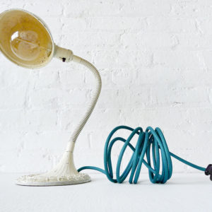 Vintage Industrial Greist Cream Gooseneck Desk Lamp with Emerald Green Color Cord