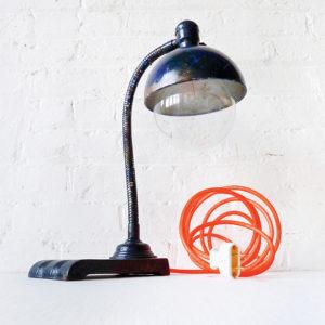 Vintage Industrial Navy Blue Gooseneck Desk Lamp with Neon Orange Net Cord