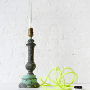Industrial Electric Candle Stick Lamp with Tungsten Tubular Bulb and Neon Yellow Net Cord