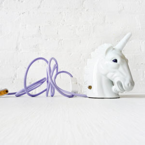 Odysseus Vintage Unicorn Head Night Light with Loaded Glitter Weapon & Lavender Color Cord