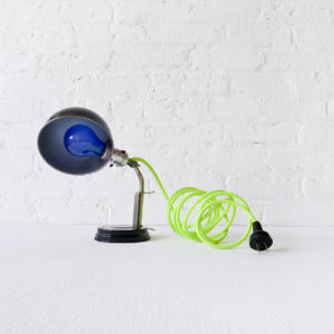 Vintage Industrial Black & Chrome Lamp Sconce with Neon Green Yellow Color Cord