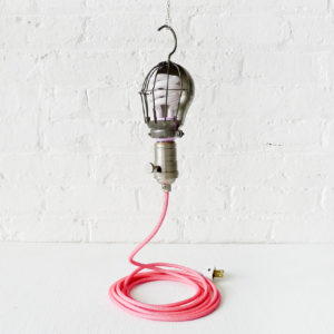 Pretty In Pink Vintage Industrial Cage Light with Neon Pink Net Color Cord