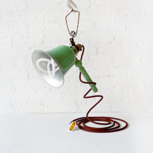 Vintage Industrial Bell Factory Clip Clamp Lamp with Plumen Bulb & Brown Color Cord