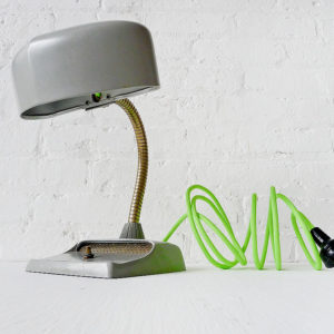 Vintage Industrial Mid Century Hood Light with Neon Yellow Green Color Cord