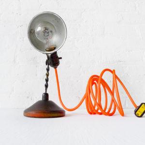 Spooky Black Mini Machine Age Clip Light with Neon Orange Net Color Cord