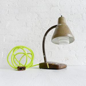 Vintage Industrial Brown Paint Splatter Gooseneck Desk Lamp with Neon Yellow Net Color Cord