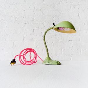 Vintage Industrial Fairy Gooseneck Desk Lamp with Neon Pink Net Color Cord
