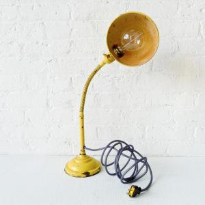 Vintage Industrial Sun Flower Gooseneck Desk Lamp with Grey Cloth Color Cord