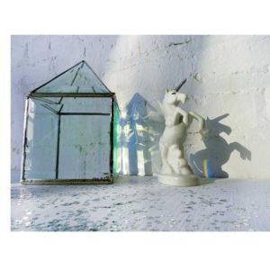 Unicorn in Rainbow Prism Glass House