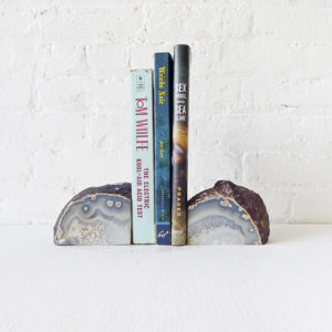 Agate Crystal Bookends – Set of Two, Polished Inside & Natural Outside