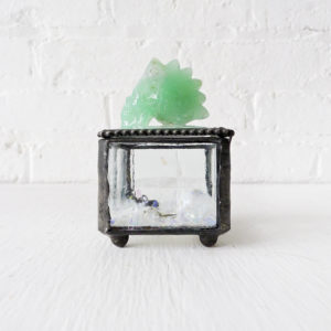 Beveled Glass Jewelry Box with Mint Green Crystal Carved Mohawk Skull