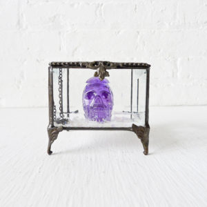 Beveled Glass Jewelry Box with a Purple REAL Cubic Zirconia Carved Skull