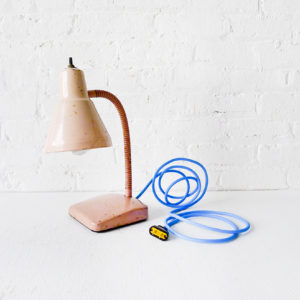 Vintage Industrial Pale Pink Retro Gooseneck Desk Lamp with Baby Blue Cloth Cord