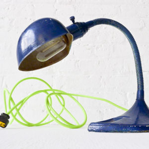 Industrial Navy Gooseneck Desk Lamp with Neon Yellow Green Color Cord