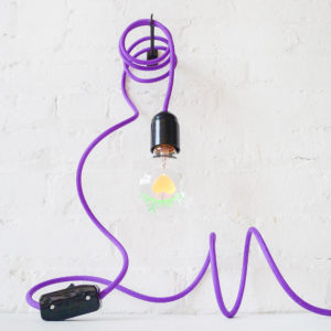 I LOVE YOU Pendant Light with Purple Color Cord