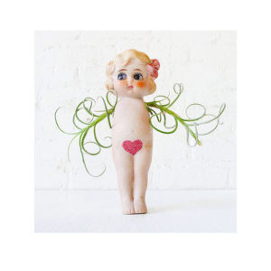 Little Miss Val Fly Girl with Pink Glitter Bush & Air Plant Wings Garden