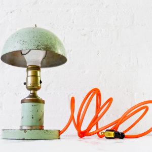 Machine Age Mushroom Lamp with Neon Orange Color Cord