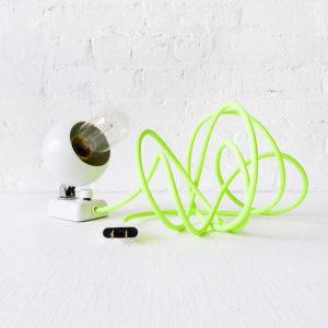 Mini Chub Spaceball Lamp – Vintage White Eyeball Mod Light with Neon Green Yellow Cord