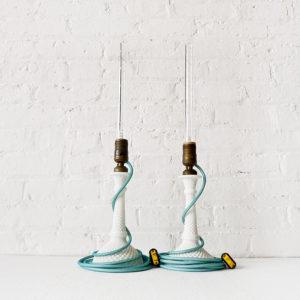 Pair of Vintage White Milk Glass Diamond Cut Candlestick Lamps with Aqua Net Color Cord