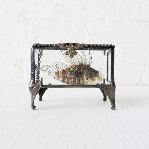 Rocky Von Fishie in Vintage Beveled Glass Jewelry Box