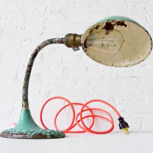 Vintage Gooseneck Desk Lamp with Neon Pink Orange Color Cord