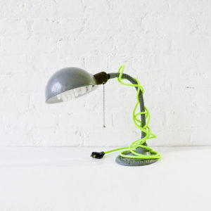 Vintage Gooseneck Desk Lamp with Neon Yellow Green Color Cord