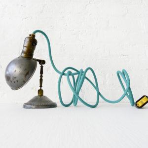 Vintage Industrial Lamp – Mini Machine Age Clip Light with Aqua Blue Green Color Cord
