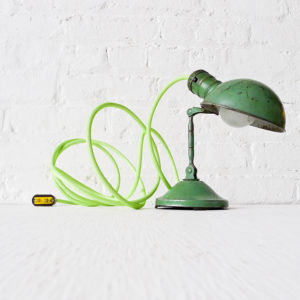 Vintage Industrial Lamp – Mini Machine Age Clip Light with Neon Lime Green Net Color Cord