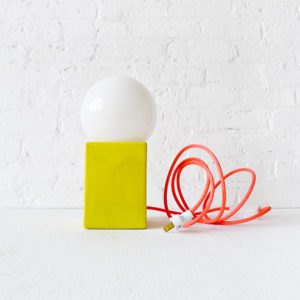 Vintage Modern Yellow Ceramic Cube Lamp with Neon Pink Color Cord