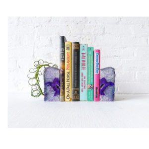 Set of Two Purple Agate Crystal Bookends Air Plant Garden – Polished Inside Natural Outside