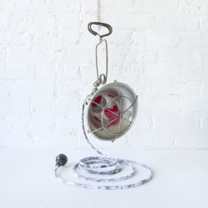 Hearts Glow In a Cage – Industrial Art Pendant Light