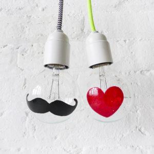 I Heart Mustache – The Heart & Mustache Light Bulb Set