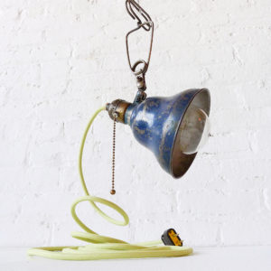 Vintage Industrial Navy Bell Shade Clip Clamp Light with Pastel Green Color Cord