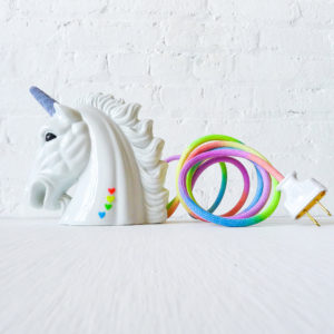 Odyssia Magical Unicorn Head Night Light with Dyed Pastel Rainbow Color Cord