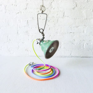 Industrial Mint Clamp Lamp with Neon Pastel Rainbow Color Cord