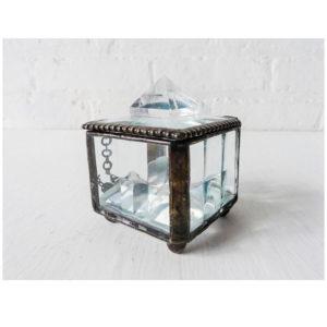 Beveled Glass Jewelry Box with Polished Quartz Pyramids