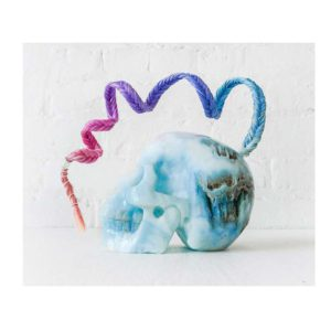 Lock Heart Warrior – Aragonite Crystal Carved Skull w Ombre Human Hair